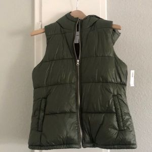 Army Green Puffer Vest with Hood.